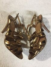 Elie Tahari Women's Gold Leather Ankle Strap High Heels Shoes Size Sz 39 U.S. 8