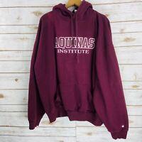 Badger Aquinas Institute Maroon Red Pullover Hoodie Sweatshirt Men's Size 2XL