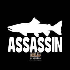 SALMON ASSASSIN vinyl Sticker Hunter Fish Fisherman Outdoorsman Truck Car Window
