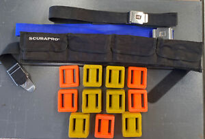 Scuba pro Lumb Bros Diving / Snorkelling Weight Belts X 3 and 11 Weights. Used.