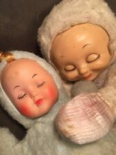 2 Vintage Rubber Face Sleeping Baby Dolls Commonwealth Toy Needs TLC