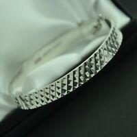 1974 Vintage Solid 925 Sterling Silver Diamond Cut Design Bangle Bracelet