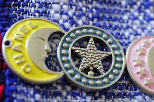 Auth  Chanel Button 1 pcs  💋💋💋💋💋emblem cc 7 см 3 inch stars and moon