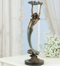 Mermaid With Shell Tray Sculpture Coastal Nautical Decor Marble Brass Statue