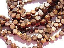 CL-122 Wood Bead Robles Handmade Brown Wax Polished, Disc 5x8mm, 16 in strand