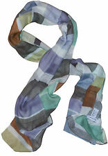PAUL SMITH MULTICOLORED LIGHTWEIGHT CHECKED SILK MODAL BLEND SCARF BNWT RARE