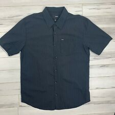 Hurley Sz L Pinstripe Button Down Short Sleeve Shirt Classic Simple