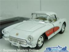 CHEVROLET CORVETTE MODEL CAR 1957 1:34 SCALE WHITE + DISPLAY CASE KINSMART C1 K8
