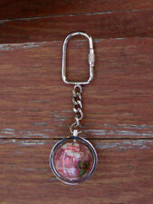 Natural Gem Silver Globe Keychain