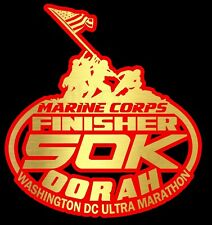 2019 any year Marine Corps Ultra Marathon 50K 31Mils Red Gold Foil Decal 6X6