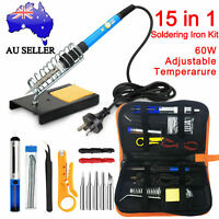 15IN1 60W Soldering Iron Kit Electronics Welding Tool Adjustable Temperature AU