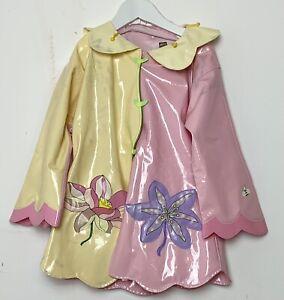 Kidorable Jacket Waterproof Pink Yellow Rain Coat Pockets Flower 5/6 Years