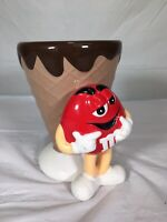M&M'S RED CHARACTER ICE CREAM WAFFLE CONE CERAMIC CANDY DISH BY GALERIE GC