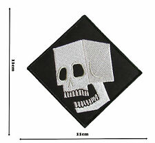 Block Skull Iron Sew On Embroidered Patch Badge Patches Logo Fancy Badges #348