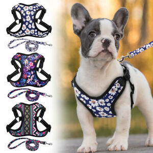 Floral Reflective Dog Vest Harness and Lead Soft Padded French Bulldog Beagle