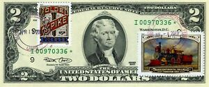 $2 DOLLARS 2003 STAR STAMP CANCEL GOLD SPIKE TRANSCONTINENTAL RAILROAD $500