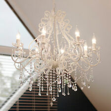 Florence Crystal Chandelier Cream Antique Style 8 Arms Glass French Shabby Light