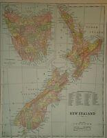 Vintage 1896 NEW ZEALAND TASMANIA MAP Old Antique Original & Authentic Free S&H