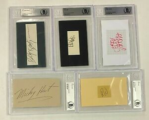 Jerry Garcia GRATEFUL DEAD Signed Autograph Auto 3x5 Set by 5 Beckett BAS Slab