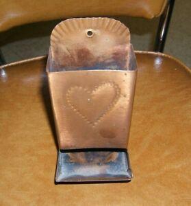 Vintage Copper Match Holder Wall Mount/Counter Match Safe Heart Motif USA