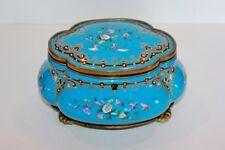 ANTIQUE PORCELAIN BLUE FLORAL JEWLERY BOX