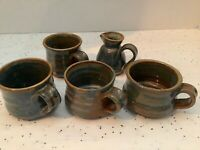 Vintage- Blue Hand- Made Stoneware Cups And Creamer -  Set Of 5