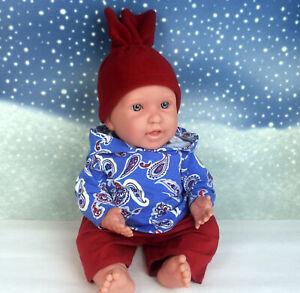 Kleidung 3tlg blau rot passend für Baby Puppe 43 cm Reborn Puppe Rebornpuppe Neu