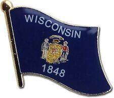 State of Wisconsin WI Flag Bike Motorcycle Hat Cap lapel Pin