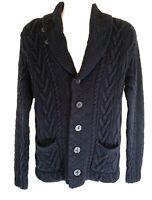 RRL Double RL Ralph Lauren M Navy Cotton/Linen Shawl Collar Cable Knit Cardigan