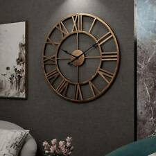 40CM Large Skeleton Metal Roman Wall Clock Big Numerals Giant Open Round Face UK