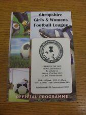 17/05/2015 Football Programme: Shropshire Girls And Womens League Cup Finals - U