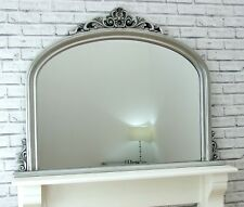 """Reading Large Arched Overmantle Antique Silver Ornate Wall Mirror 48"""" x 35.5"""""""
