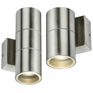 Stainless Steel Outdoor Wall Light IP54 Up Down Outside Garden GU10 LED Mains UK