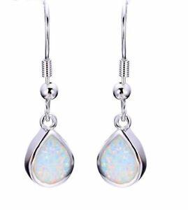 Beautiful 925 Sterling Silver Filled White Fire Opal Water Drop Hook Earrings