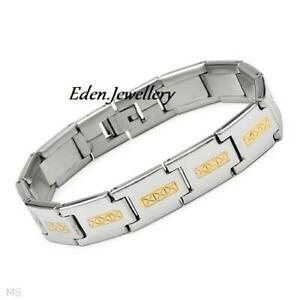 Attractive Two-Tone Men Bracelet Stainless Steel Imported USA Brand New LAST 1