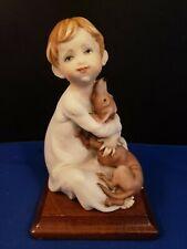 """G.Armani Capodimonte Italy Boy Holding Puppy Dog Figurine Wood Base 5.5""""h"""