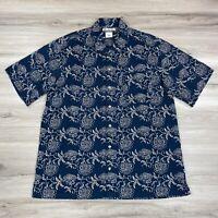Columbia Men's Casual Button Down Shirt Blue Tan Floral 100% Cotton Size XL