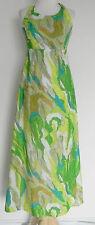 Vtg Ponape Honolulu Halter Maxi Dress Empire Waist Multi-Color Size XS/S