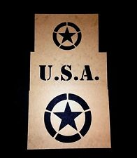 WWII MILITARY VEHICLE INVASION STAR STENCIL SET - WILLYS JEEP MB GPW - US ARMY