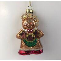 Christmas Ornament Blown Glass Gingerbread Person Holiday Tree Decoration NIB