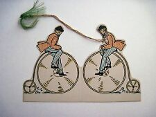 Vintage Art Deco Bridge Tally Card w/ Man Riding a 1900's Bicycle. *