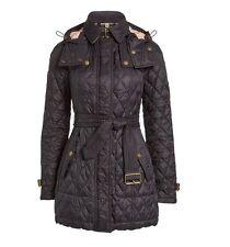 Burberry Finsbridge Quilted Jacket coat hooded black belted jacket Large