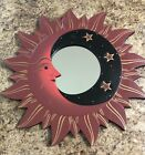 """VTG MOON & STARS MIRROR 16"""" Hand Carved & Painted NEW RED"""