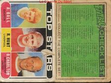 CHECK LIST 1 TO 64 ENGLAND CARD FOOTBALLER 1970 GREEN BACK AB&C