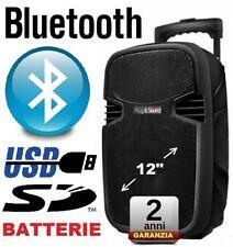 CASSA ACUSTICA AMPLIFICATA 580w TROLLEY RICARICABILE BATTERIE BLUETOOTH USB SD