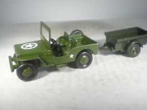 Dinky Toys Military Army Universal Jeep #25Y WITH SOLIDO TRAILER