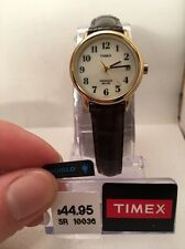 Timex T20071, Easy Reader, Women's, Date, Brown Leather Watch, Indiglo-H96