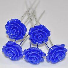 Set 5 Forcine Rose Fiore Matrimonio Sposa Accessorio Per Capelli Pregiato BLU