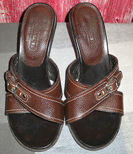 COACH KERINA MULES~8M~SHOES (PEBBLE) CALF LEATHER~DARK BROWN~NICKLE BUCKLE