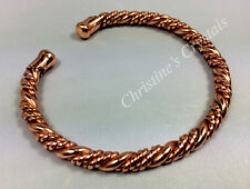 Non Magnetic Solid TWISTED COPPER Bracelet - Healing Arthritis Pain Relief (B22)